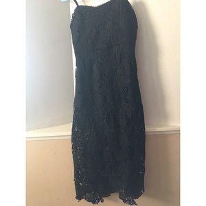 NSR black lace floral midi dress